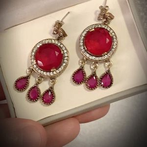 CHANDELIER RUBY GEM EARRINGS Solid 925 Silver/Gold